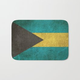 Old and Worn Distressed Vintage Flag of Bahamas Bath Mat