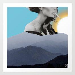 Over The Mountains - Smoking Woman Art Print