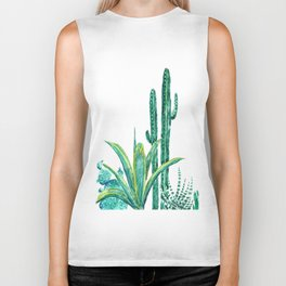 cactus jungle watercolor painting 2 Biker Tank