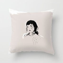 Modern Pencil Drawing Fine Art Portrait. Asian woman. Throw Pillow