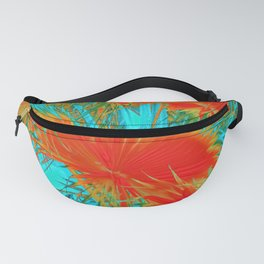 closeup palm leaf texture abstract background in orange blue green Fanny Pack