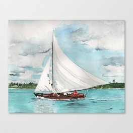 Sail Away watercolor painting of sailboat on turquoise waters Canvas Print