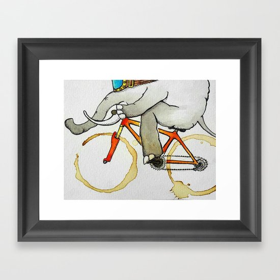 Elephant on a Bike Framed Art Print