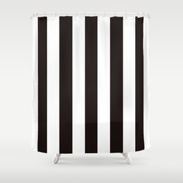 Licorice black - solid color - white vertical lines pattern Shower Curtain