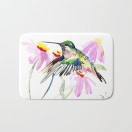 Hummingbird and Light Purple Flowers Bath Mat