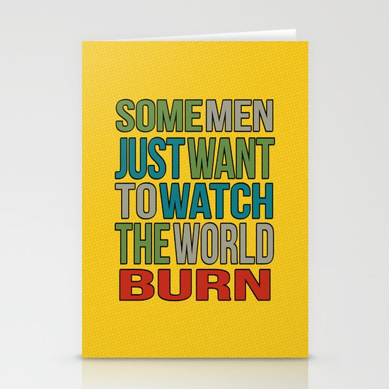 Watch the world burn. Stationery Cards
