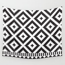 Black and White Geometric Tribal Pattern Print Wall Tapestry