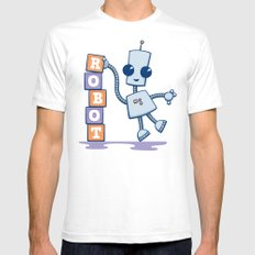 Ned's Blocks SMALL Mens Fitted Tee White