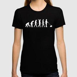 Dog Walker Evolution Funny Japanese Chin T-shirt