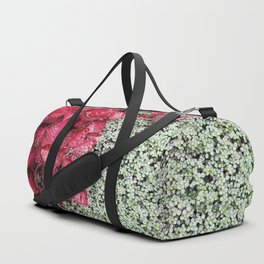 Pink Leaves on Green Carpet Duffle Bag