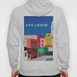 Ann Arbor, Michigan - Skyline Illustration by Loose Petals Hoody