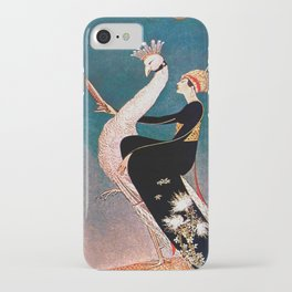 Art Deco White Peacock and Flapper Vintage Art iPhone Case