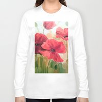 poppies Long Sleeve T-shirts featuring Poppies by OLHADARCHUK