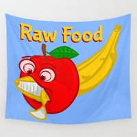 vegetarian Wall Tapestries featuring  Raw Foods Food Fight by mailboxdisco