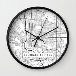 Colorado Springs Map, USA - Black and White Wall Clock