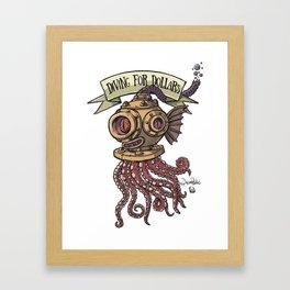 Octopus Diver Framed Art Print