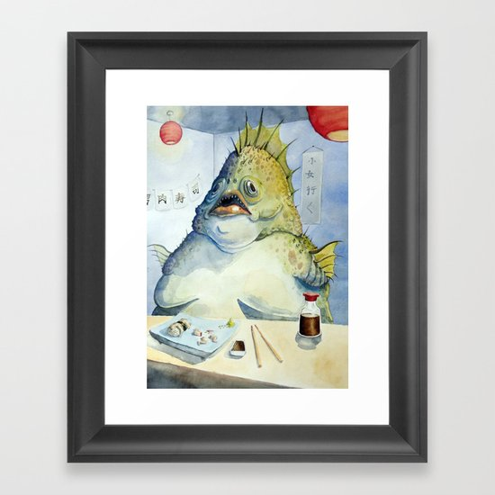 Fish Walks Into a Sushi Bar Framed Art Print