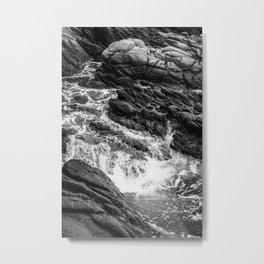Wave Crash Black and White Metal Print