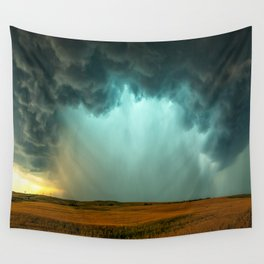 Open the Heavens - Panoramic Storm with Teal Hue in Northern Oklahoma Wall Tapestry
