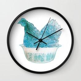 Animals in vintage bowls: Chicken Wall Clock
