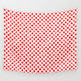 Polka Dot Red and Pink Blotchy Pattern Wall Tapestry