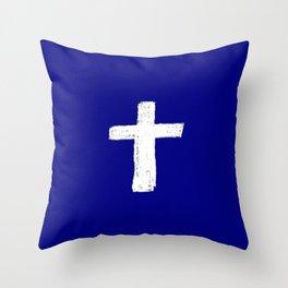 Christian Cross Chalk version Throw Pillow
