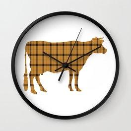 Cow: Orange Plaid Wall Clock