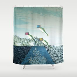 atmosphere 38 · Flying Fish Bowl Shower Curtain