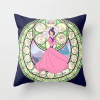 mulan Throw Pillows featuring Mulan by NicoleGrahamART