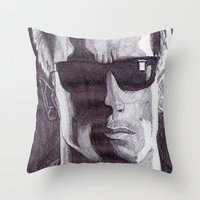 terminator Throw Pillows featuring Terminator by DeMoose_Art