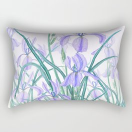 purple iris watercolor Rectangular Pillow