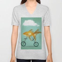 2 wheeled goldfish Unisex V-Neck