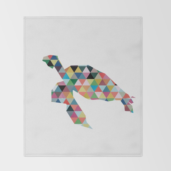 Colorful Geometric Turtle Throw Blanket