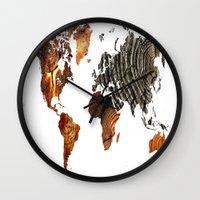 tree rings Wall Clocks featuring Tree Rings  by VRose