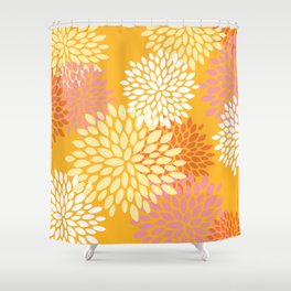 Bright Summer Floral Pattern, Colorful, Yellow, Orange, Pink Shower Curtain
