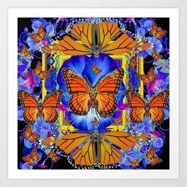 ABSTRACT ORANGE MONARCH BUTTERFLIES & BLUE FLORAL BLACK Art Print