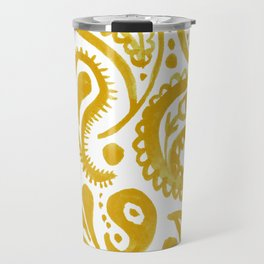 Handpainted Paisley Pattern Golden Yellow Color Travel Mug