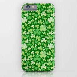 Lucky Green Watercolour Shamrock Pattern iPhone Case