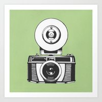 vintage camera Art Prints featuring Camera by danielrafalski