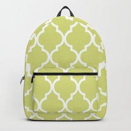 Classic Quatrefoil Lattice Pattern 731 Chartreuse Green Backpack