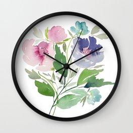 Purple and Pink Peonies Wall Clock