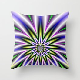 Star Burst in Green Yellow Pink Blue and Violet Throw Pillow