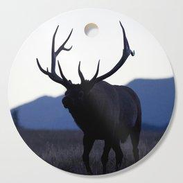 Watercolor Elk Bull 52, Estes Park, Colorado, Walk Slowly Backwards Cutting Board