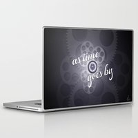 "casablanca Laptop & iPad Skins featuring ""As Time Goes By"" - black and white vector artwork by Nicole Cleary"