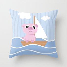 Mobil series pig sailboat Throw Pillow