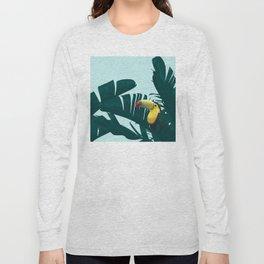 Green Toucan Tropical Banana Leaves Pattern Long Sleeve T-shirt