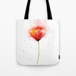 Red Poppy Flower Watercolor Abstract Poppies Floral Tote Bag