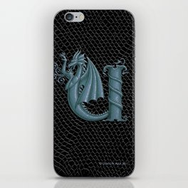 """Dragon Letter U, from """"Dracoserific"""", a font full of Dragons iPhone Skin"""