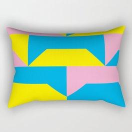 Trapezi e altre forme. Rosa, azzurro, giallo. Sembrano piccoli ponti per bambini, fatti in legno. Rectangular Pillow