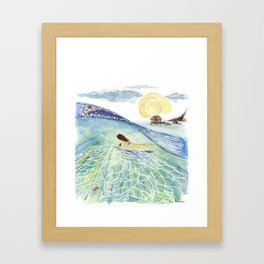 Athena Swimming Framed Art Print